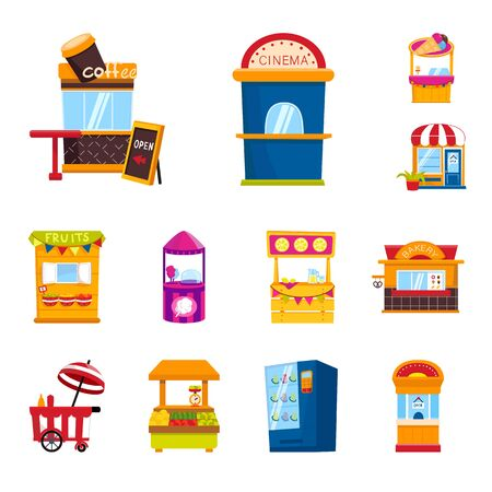 Vector illustration of and booth sign. Set of and vending vector icon for stock.