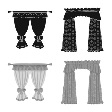 Isolated object of curtains and drapes icon. Collection of curtains and blinds stock symbol for web. Illustration