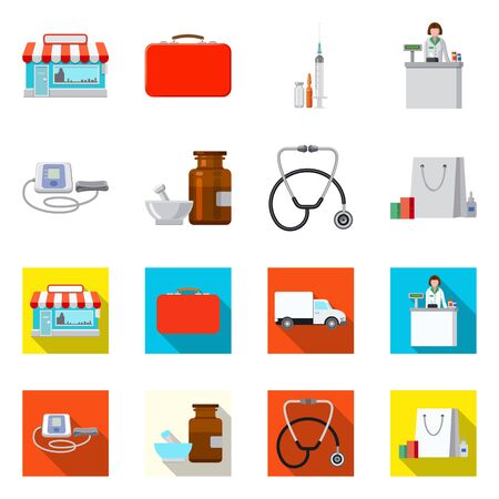 Vector design of pharmacy and hospital symbol. Set of pharmacy and business stock symbol for web.