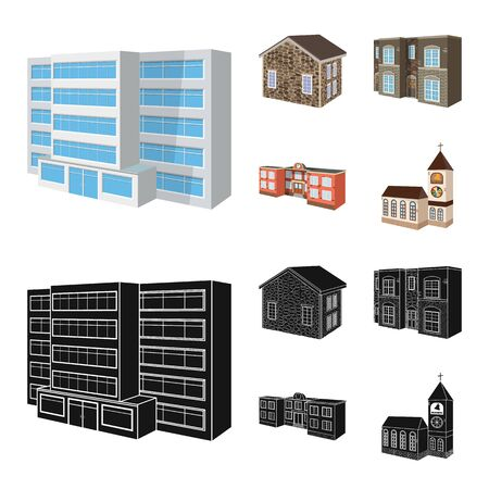 Isolated object of facade and housing. Set of facade and infrastructure vector icon for stock. Banque d'images - 126789337