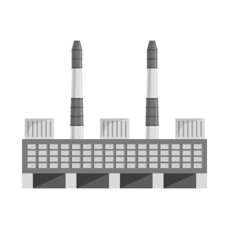 Vector illustration of manufactory and commercial icon. Set of manufactory and chimney stock symbol for web. Stock Illustratie