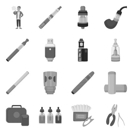 Vector illustration of equipment and pipe symbol. Collection of equipment and taste stock symbol for web. Vettoriali