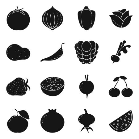 Illustrazione vettoriale di simbolo vegetariano e biologico. Insieme di simbolo di borsa vegetariano e alimentare per il web.