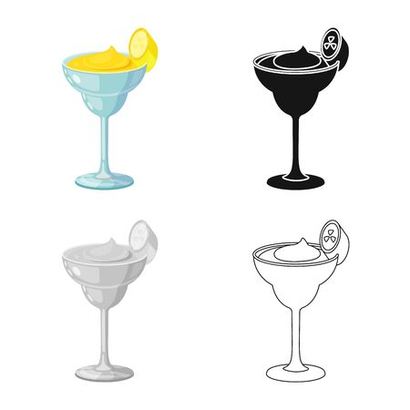 Vector illustration of daiquiri and cocktail icon. Collection of daiquiri and rum vector icon for stock.