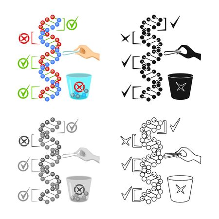 Vector design of dna and gene sign. Set of dna and biotechnology vector icon for stock.
