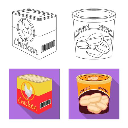 bitmap illustration of can and food icon. Collection of can and package stock bitmap illustration.