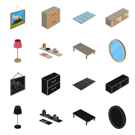 bitmap design of bedroom and room sign. Collection of bedroom and furniture stock bitmap illustration.