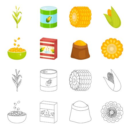 bitmap design of cornfield and vegetable sign. Collection of cornfield and vegetarian stock symbol for web.