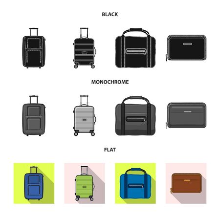 bitmap design of suitcase and baggage icon. Set of suitcase and journey stock bitmap illustration.