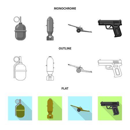 bitmap illustration of weapon and gun icon. Set of weapon and army stock bitmap illustration.