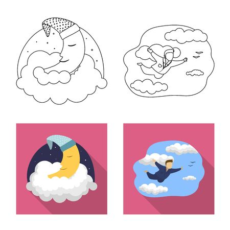 Isolated object of dreams and night icon. Collection of dreams and bedroom stock bitmap illustration.
