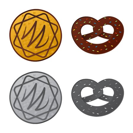 bitmap design of biscuit and bake sign. Set of biscuit and chocolate stock symbol for web.