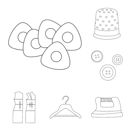 bitmap design of fashion and tailoring icon. Set of fashion and textile stock symbol for web. Stok Fotoğraf