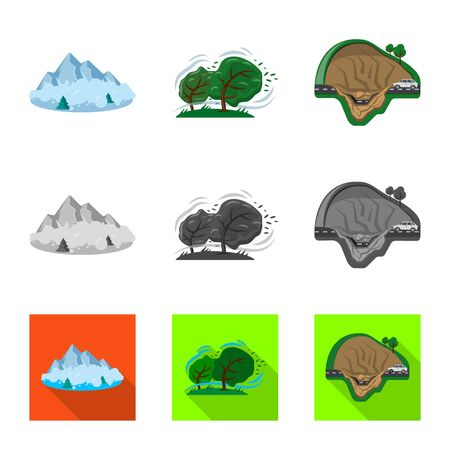 Isolated object of natural and disaster. Collection of natural and risk bitmap icon for stock.