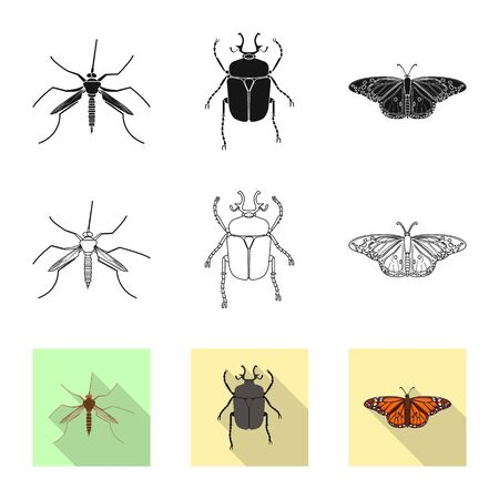 Isolated object of insect and fly sign. Set of insect and element bitmap icon for stock.