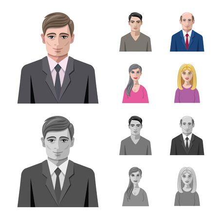 bitmap design of hairstyle and profession icon. Collection of hairstyle and character bitmap icon for stock.