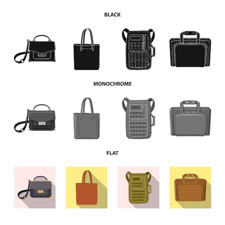 bitmap illustration of suitcase and baggage icon. Set of suitcase and journey stock symbol for web. Archivio Fotografico