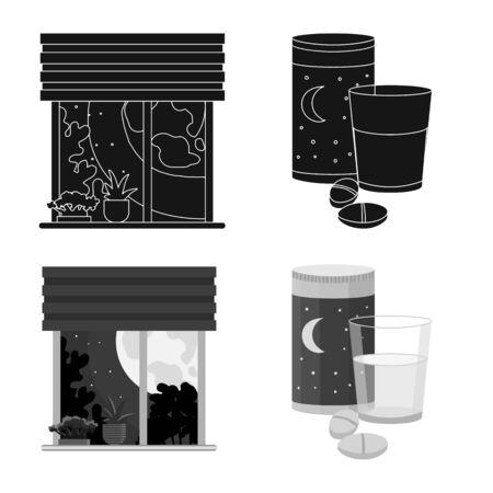 Vector design of dreams and night symbol. Set of dreams and bedroom stock vector illustration. Иллюстрация