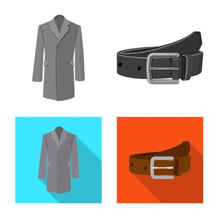 Isolated object of man and clothing. Collection of man and wear stock vector illustration.