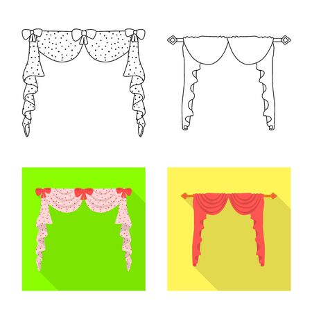 Isolated object of curtains and drapes. Set of curtains and blinds vector icon for stock. Illustration