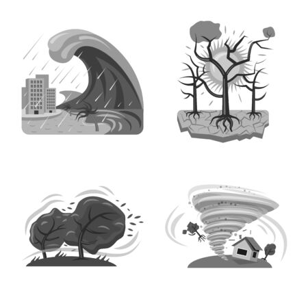 Isolated object of natural and disaster sign. Set of natural and risk stock vector illustration.
