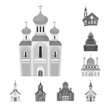 Vector design of architecture and faith sign. Collection of architecture and traditional stock symbol for web.