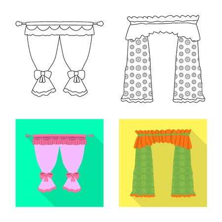 Vector design of curtains and drapes logo. Set of curtains and blinds stock symbol for web. Illustration