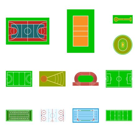 Vector design of field and arena. Set of field and sport stock vector illustration. Standard-Bild - 127276143
