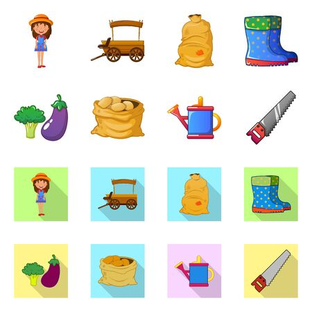 Vector design of farm and agriculture. Collection of farm and plant vector icon for stock.