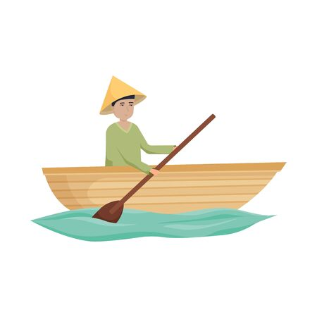 Vector design of boat and vietnamese sign. Collection of boat and hat stock symbol for web.