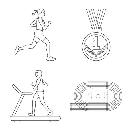 Vector illustration of exercise and sprinter sign. Set of exercise and marathon stock vector illustration.