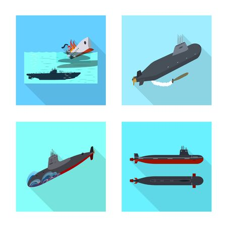 Vector illustration of military and nuclear icon. Set of military and ship stock vector illustration.