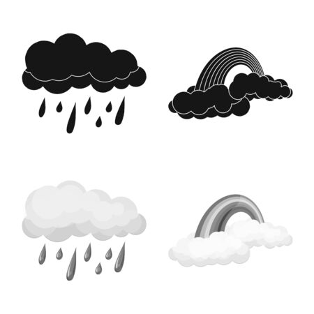 Isolated object of weather and climate. Collection of weather and cloud stock symbol for web. Illustration