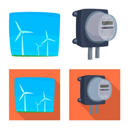 Isolated object of electricity and electric sign. Collection of electricity and energy stock vector illustration.