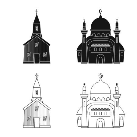 Vector design of cult and temple sign. Set of cult and parish stock symbol for web.