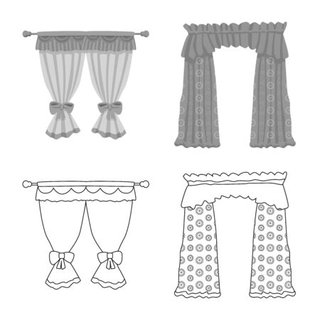 Vector illustration of curtains and drapes sign. Set of curtains and blinds stock symbol for web.