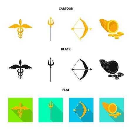 Isolated object of deity and antique. Set of deity and myths stock vector illustration. Ilustração