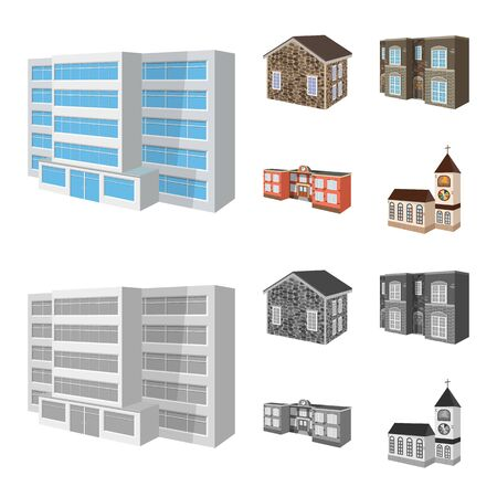 Isolated object of facade and housing. Set of facade and infrastructure vector icon for stock. Banque d'images - 127278974
