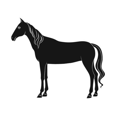 Vector design of steed and white sign. Set of steed and hoofed stock symbol for web. Illustration