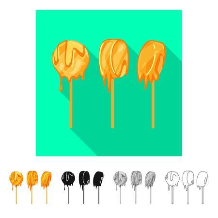 Vector illustration of banana and caramel sign. Set of banana and sweet stock vector illustration. Stock Illustratie