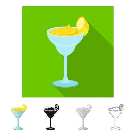 Vector illustration of daiquiri and cocktail sign. Set of daiquiri and rum stock vector illustration. Illustration