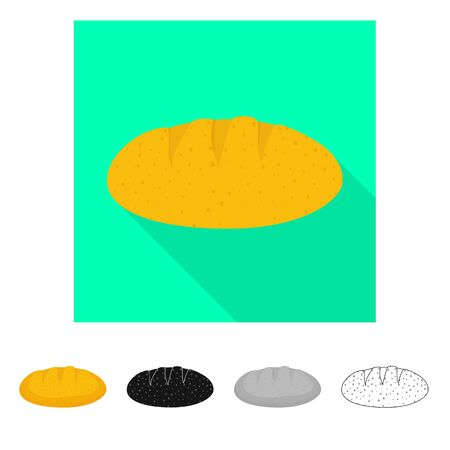 Isolated object of bread and corn symbol. Set of bread and bakery vector icon for stock.
