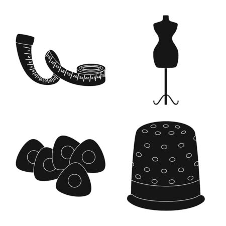 Vector design of studio and industry. Collection of studio and sewing vector icon for stock. Çizim