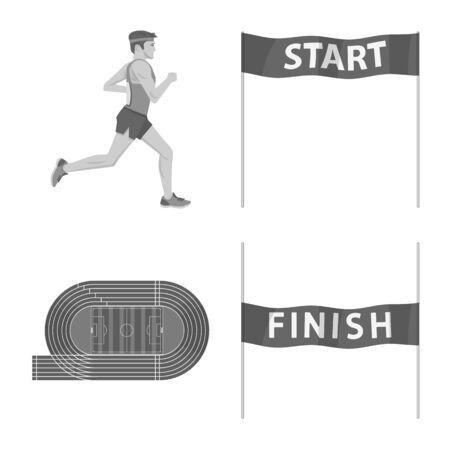 Objet isolé de succès et icône de marathon. Collection de succès et icône vectorielle gagnante pour le stock.