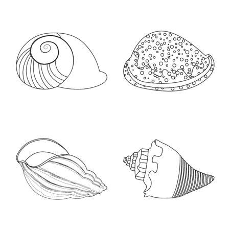 Disegno vettoriale di simbolo esotico e frutti di mare. Set di icone vettoriali esotiche e acquatiche per stock.