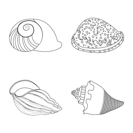 Vector design of exotic and seafood symbol. Set of exotic and aquatic vector icon for stock.