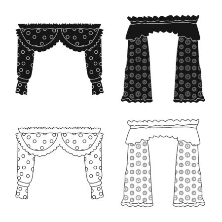 Vector design of curtains and drapes sign. Collection of curtains and blinds vector icon for stock.