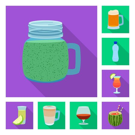 Vector illustration of drink and bar. Collection of drink and party vector icon for stock.