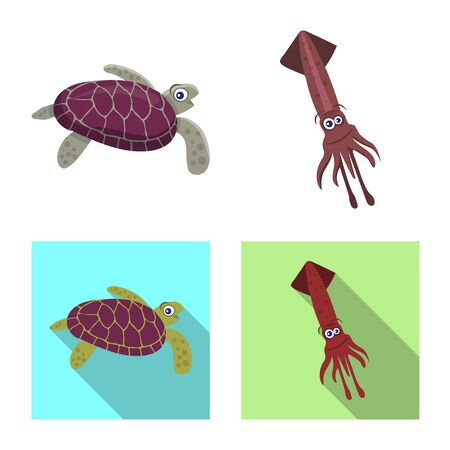 Vector illustration of sea and animal icon. Set of sea and marine stock vector illustration. 矢量图像