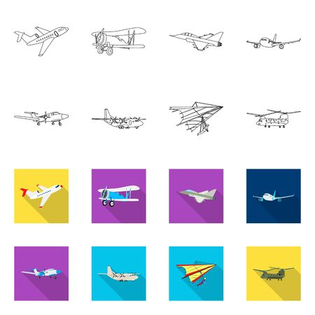 Vector illustration of plane and transport. Collection of plane and sky stock symbol for web. Banque d'images - 127159391